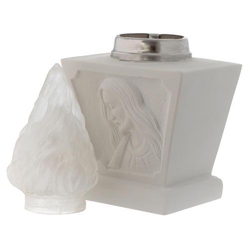 Portafiamma cimitero Gesù marmo sintetico bianco 4