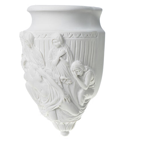 Flower holder, appliqué, in reconstituted marble way of the cros 3