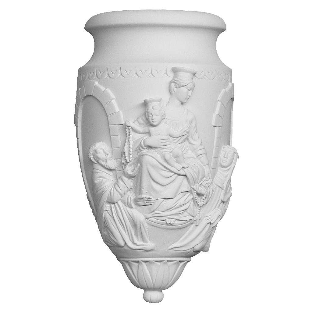 Vase à fixer Vierge et Enfant marbre synthétique 3
