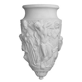 Flower holder in reconstituted marble, Christ crucifix s1