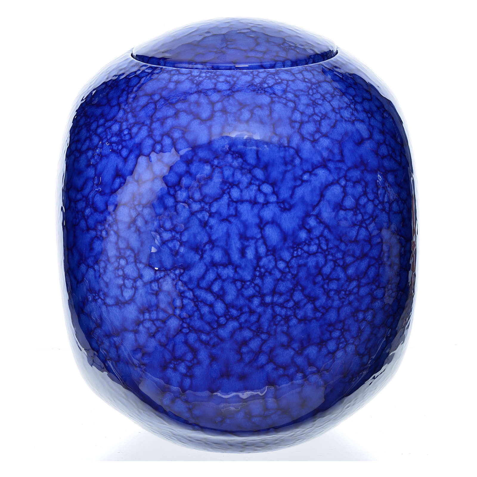 Urna funerária porcelana quadrada esmaltada mod. Murano azul 3