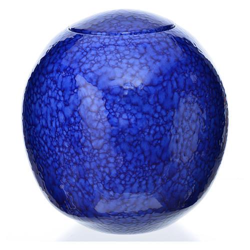 Urna funerária porcelana quadrada esmaltada mod. Murano azul 1