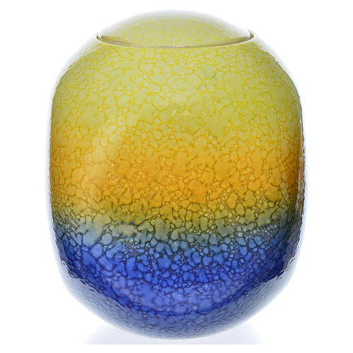 Cremation urn, square in enamelled porcelain, Murano Colours mod 2