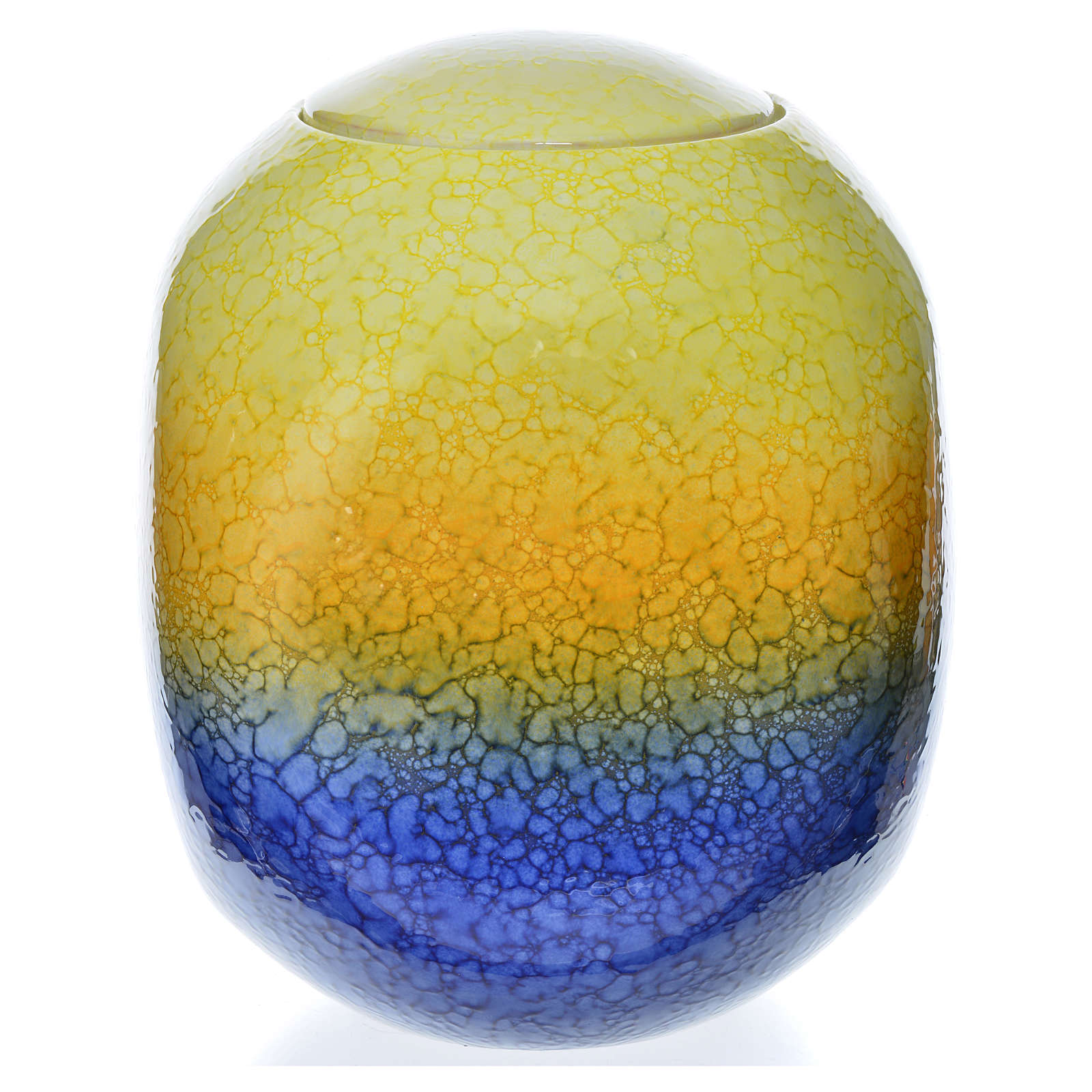 Cremation urn, square in enamelled porcelain, Murano Colours mod 3