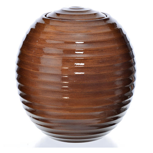 Cremation urn in porcelain, hand painted wooden effect 1