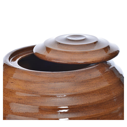 Cremation urn in porcelain, hand painted wooden effect 2
