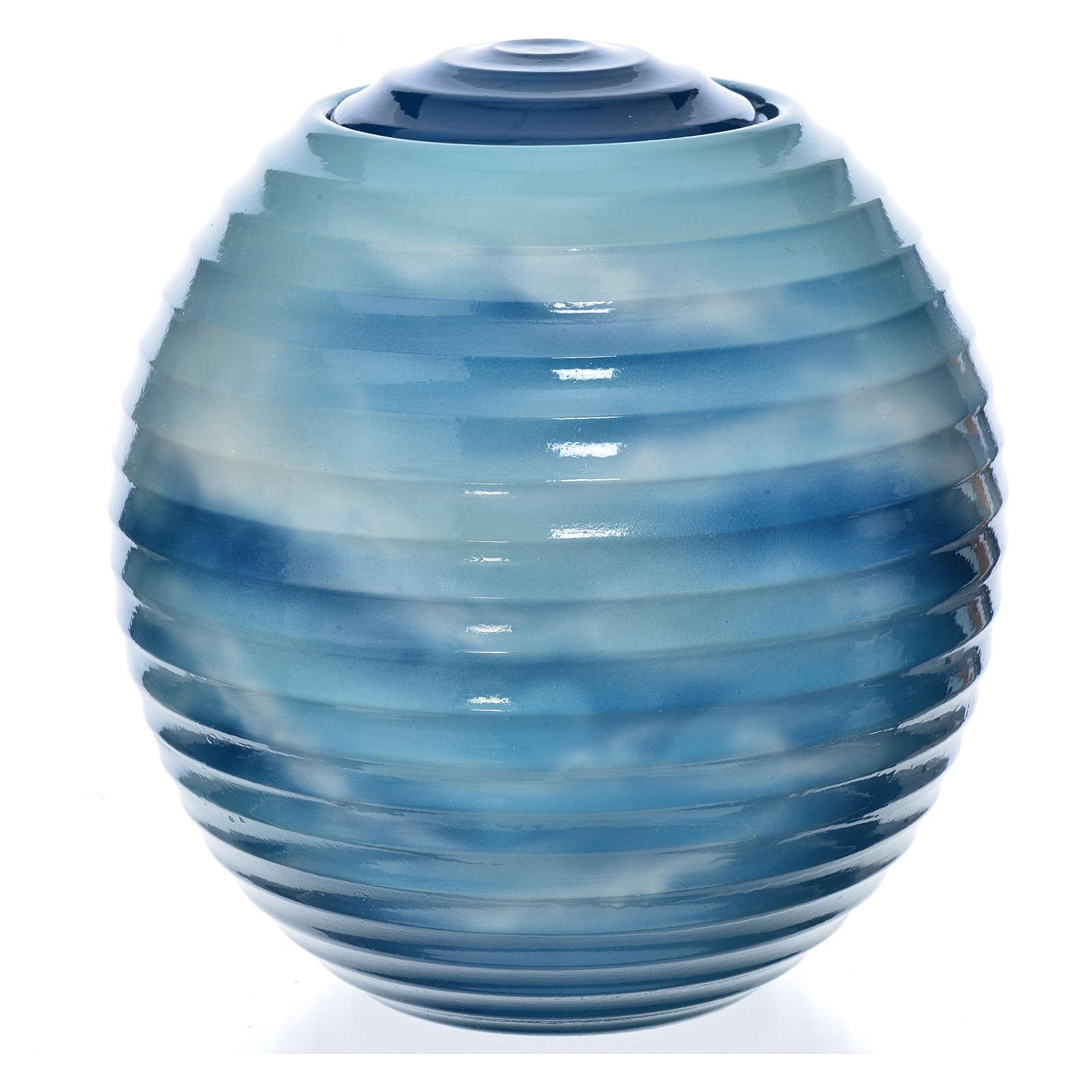 Urne funéraire porcelaine peinte main bleu fantaisie 3