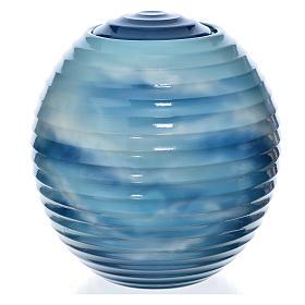 Urne funéraire porcelaine peinte main bleu fantaisie s1