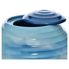 Urne funéraire porcelaine peinte main bleu fantaisie s2