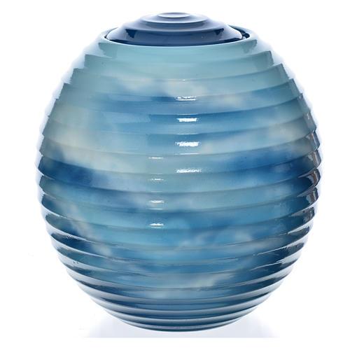 Urne funéraire porcelaine peinte main bleu fantaisie 1