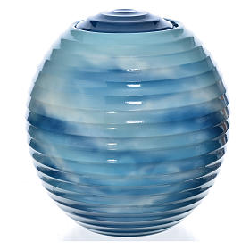 Urna cineraria porcellana dipinta a mano azzurro fantasia s1