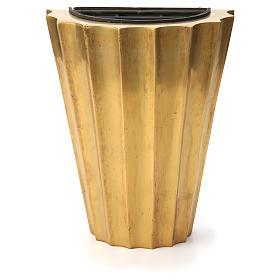 Vase cimetière laiton bronzé plissé avec bac s1