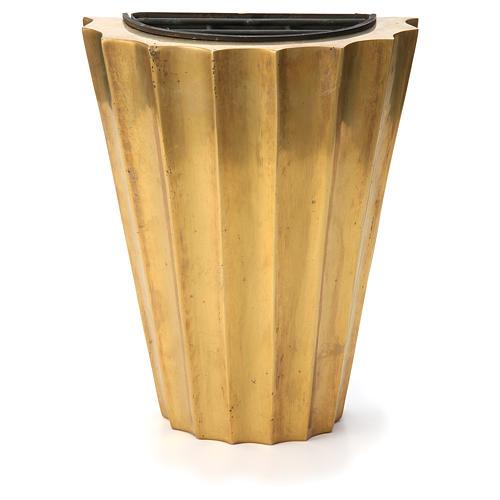 Vase cimetière laiton bronzé plissé avec bac 1