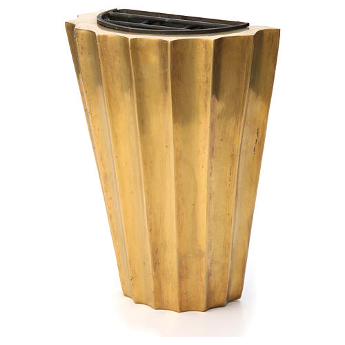 Vase cimetière laiton bronzé plissé avec bac 2