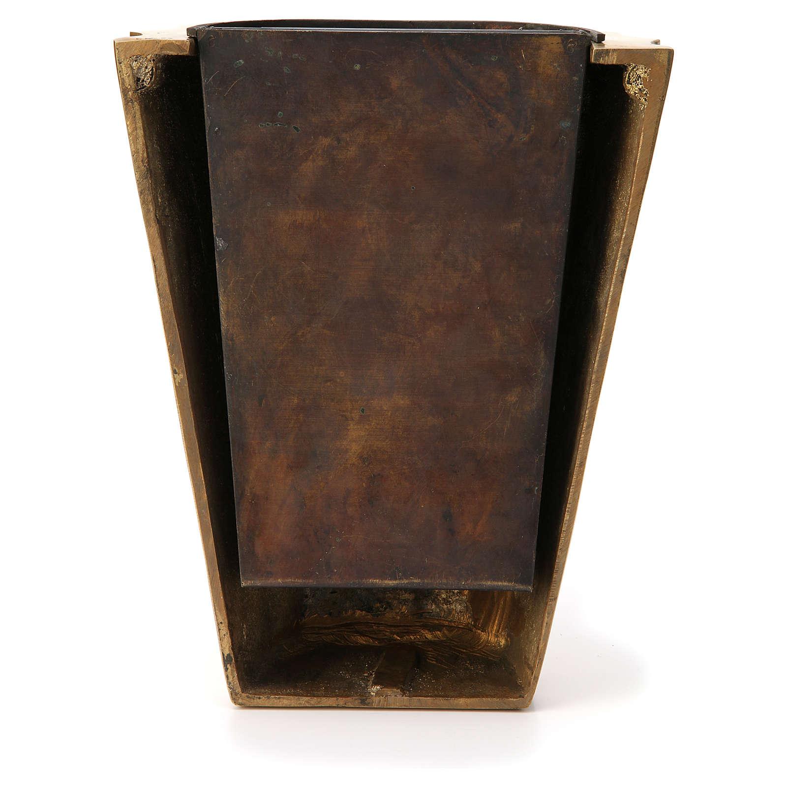 Vaso cimitero ottone bronzato plissettato e vasca 3