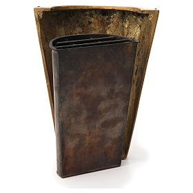 Vaso cimitero ottone bronzato plissettato e vasca s4