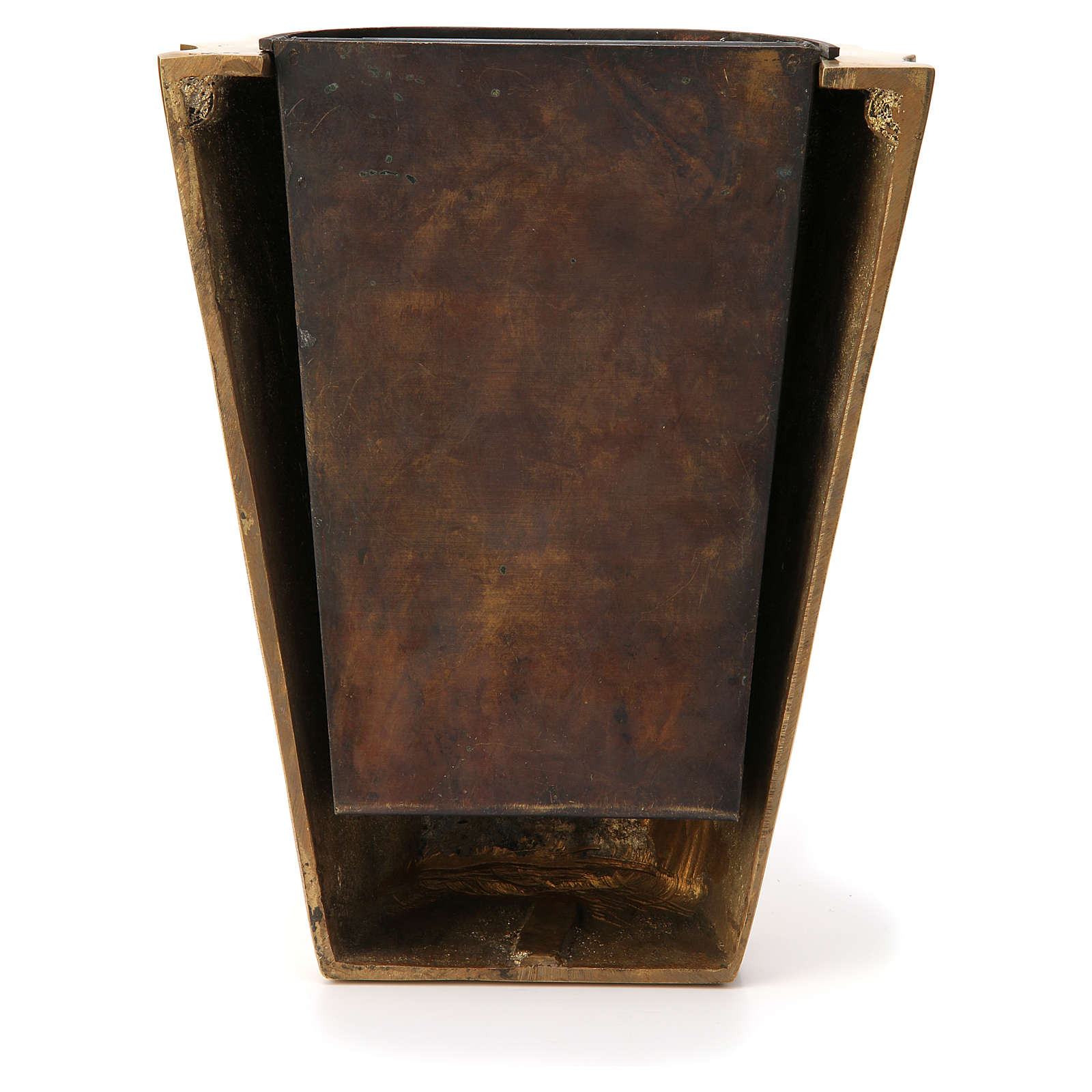 Cemetery vase bronzed plissé brass with basin 3
