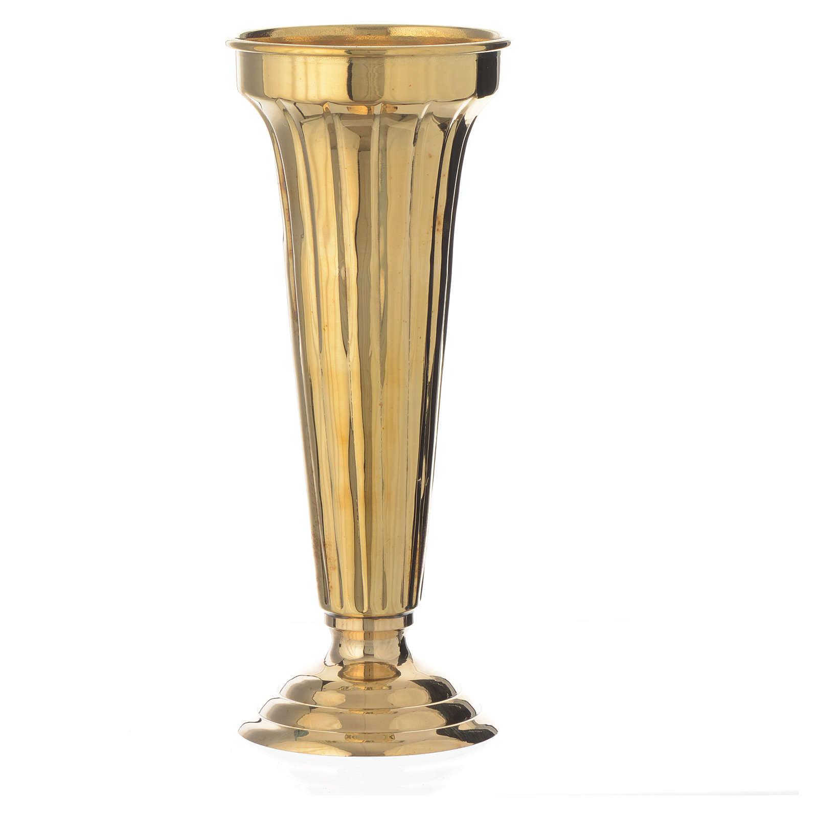 Flower vase chiseled brass 26cm 3