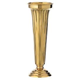 Flower vase chiseled brass 30cm s1