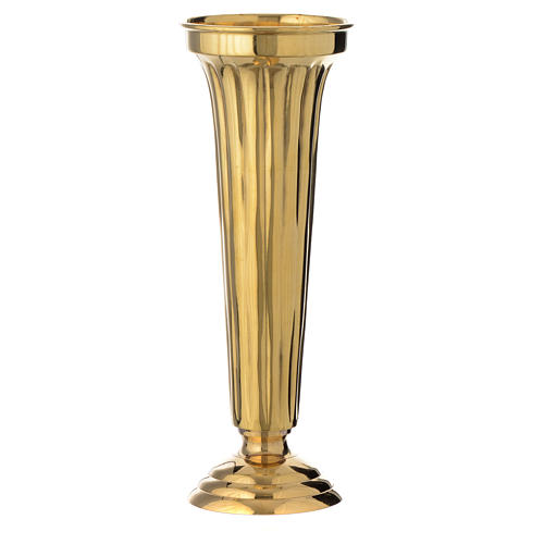 Flower vase chiseled brass 30cm 1