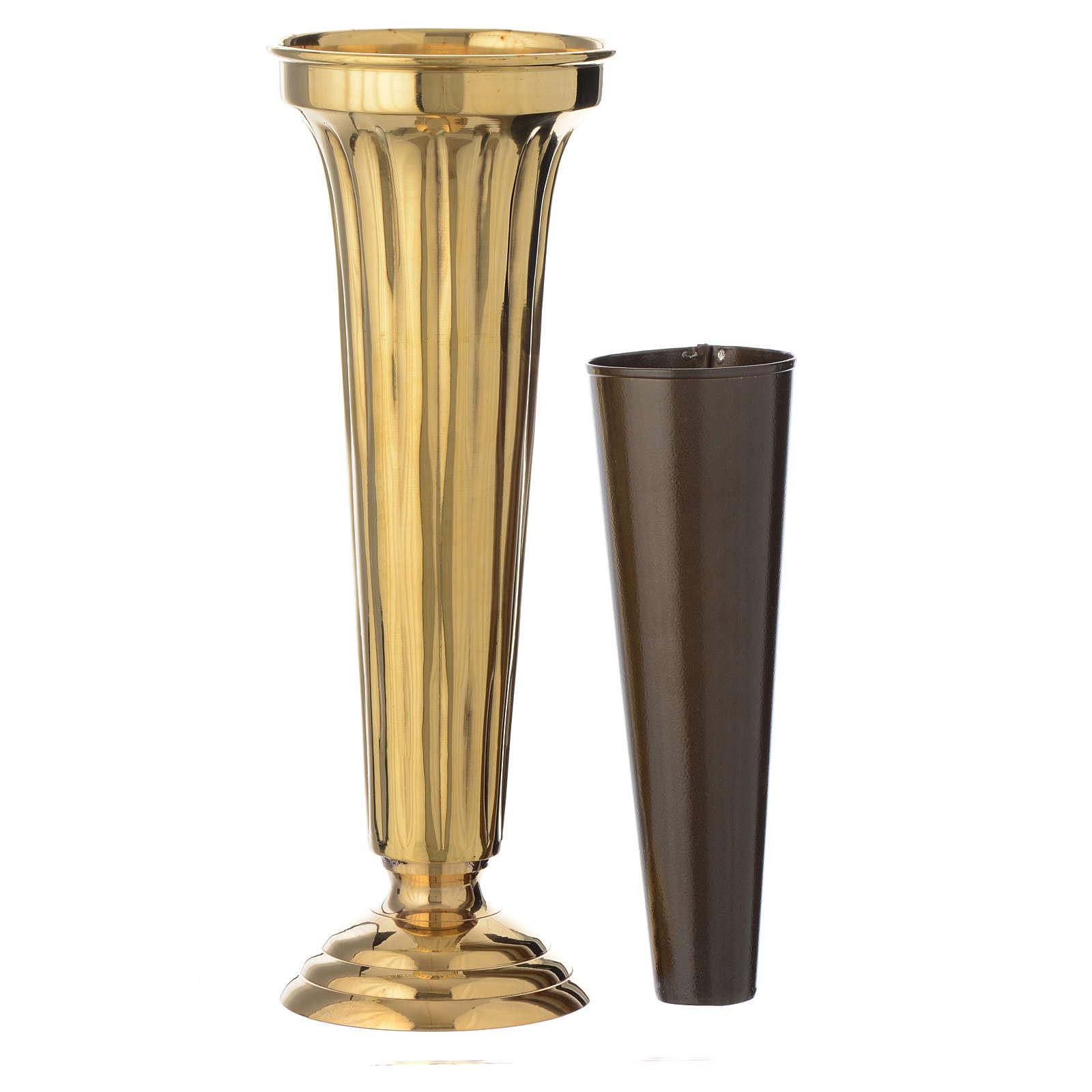 Vaso per fiori ottone cesellato a mano h 30 cm 3
