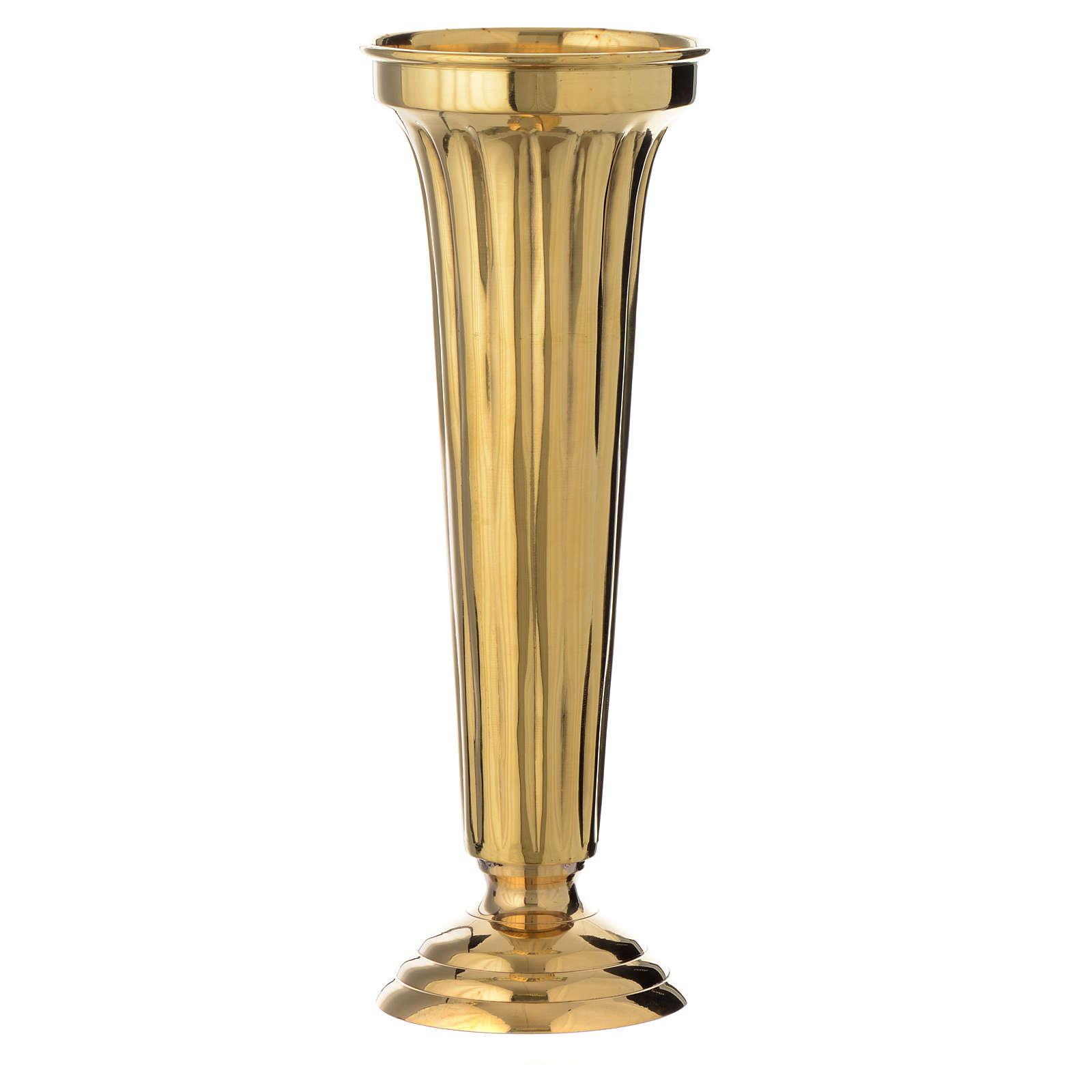 Flower vase chiseled brass 30cm 3