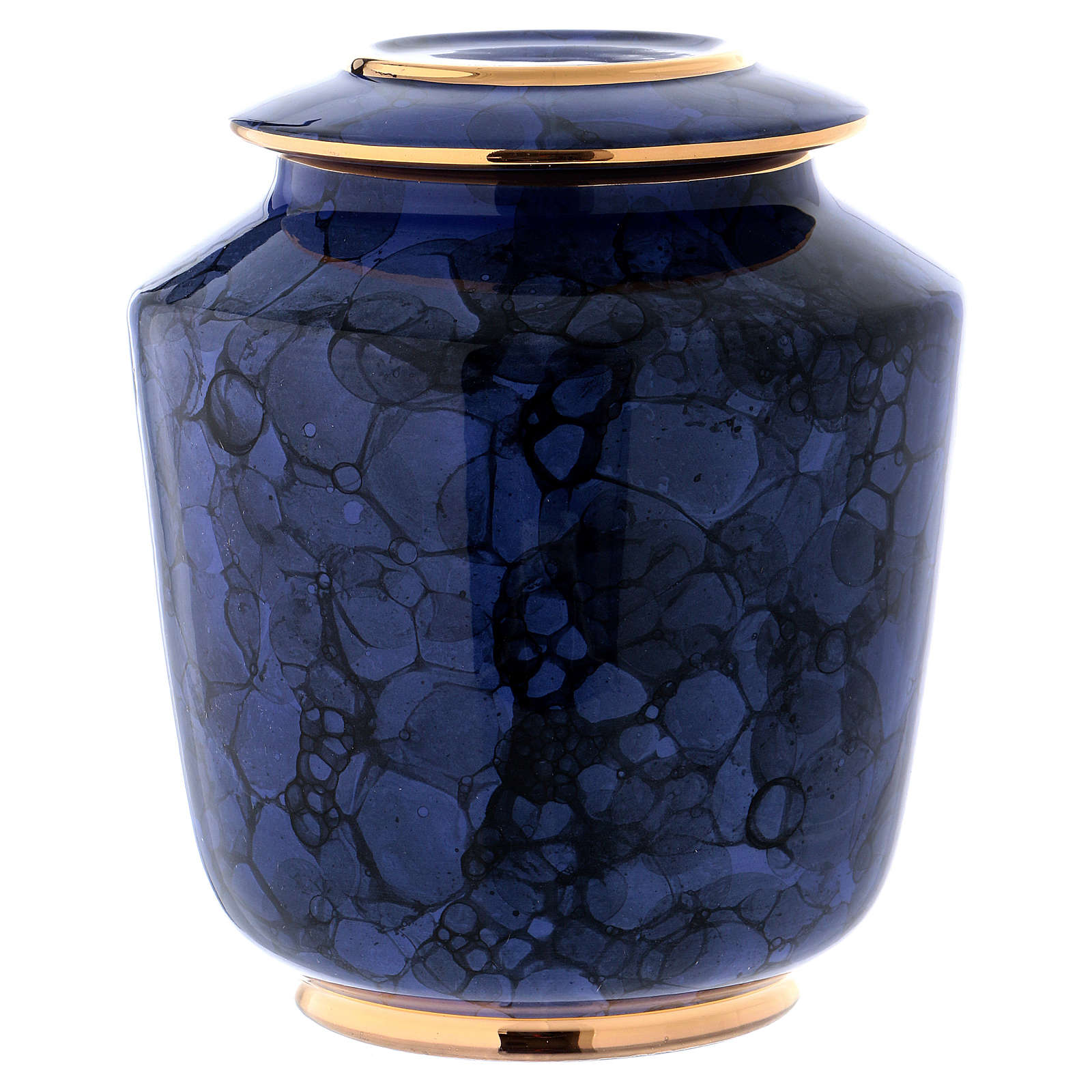 Funerary urn with Bolle decoration, ultramarine blue with golden edges 3