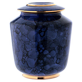 Funerary urn with Bolle decoration, ultramarine blue with golden edges s1