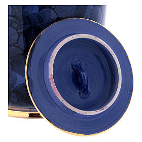 Funerary urn with Bolle decoration, ultramarine blue with golden edges s3