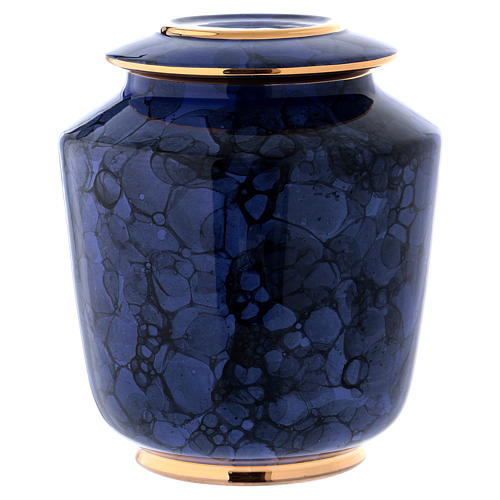 Funerary urn with Bolle decoration, ultramarine blue with golden edges 1