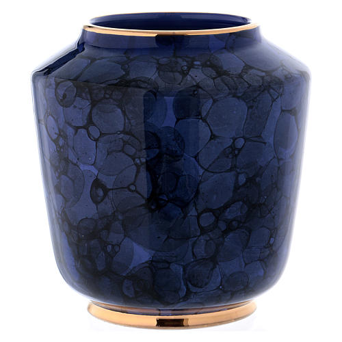 Funerary urn with Bolle decoration, ultramarine blue with golden edges 4