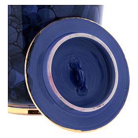 Urna funeraria decoro Bolle su blu oltremare bordo oro s3