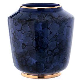 Urna funeraria decoro Bolle su blu oltremare bordo oro s4