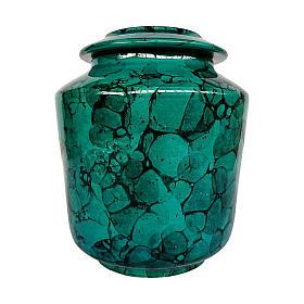 Urna funerária decoração Bolhas sobre fundo verde cobre s1