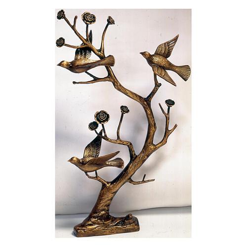 Branche avec colombes bronze 75 cm pour EXTÉRIEUR