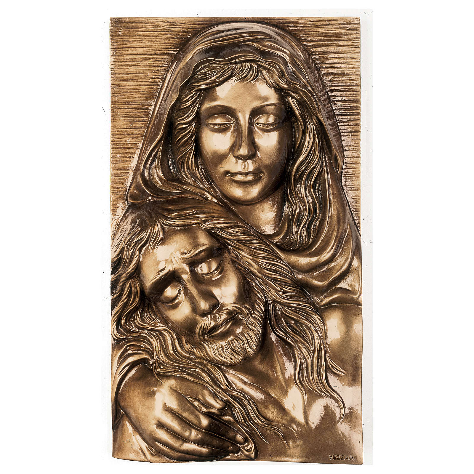 Plaque with close-up of the Pietà in bronze 50x30 cm for EXTERNAL USE 3