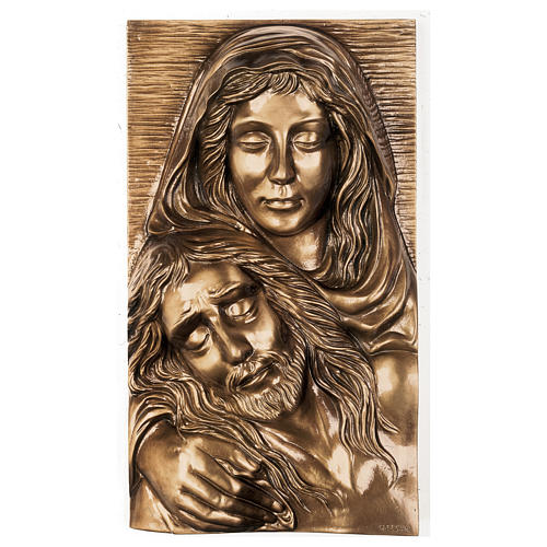 Plaque with close-up of the Pietà in bronze 50x30 cm for EXTERNAL USE 1