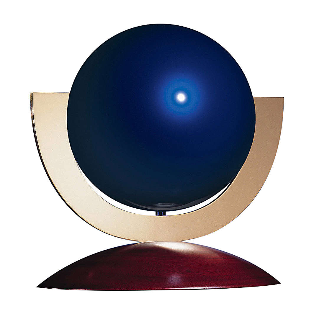 Urne funéraire Ovation sphère acier laqué bleu base acajou 3