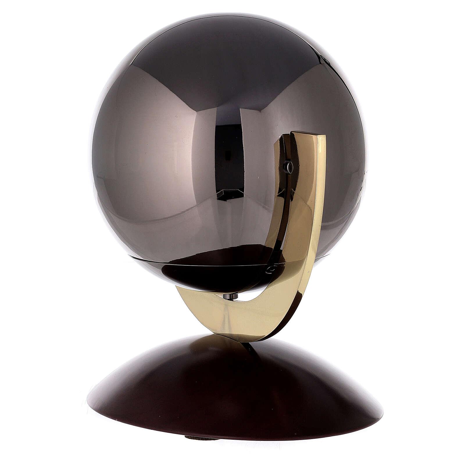 Urna cineraria Ovación base caoba esfera gris 3