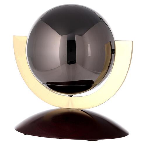 Urna cineraria Ovación base caoba esfera gris 1