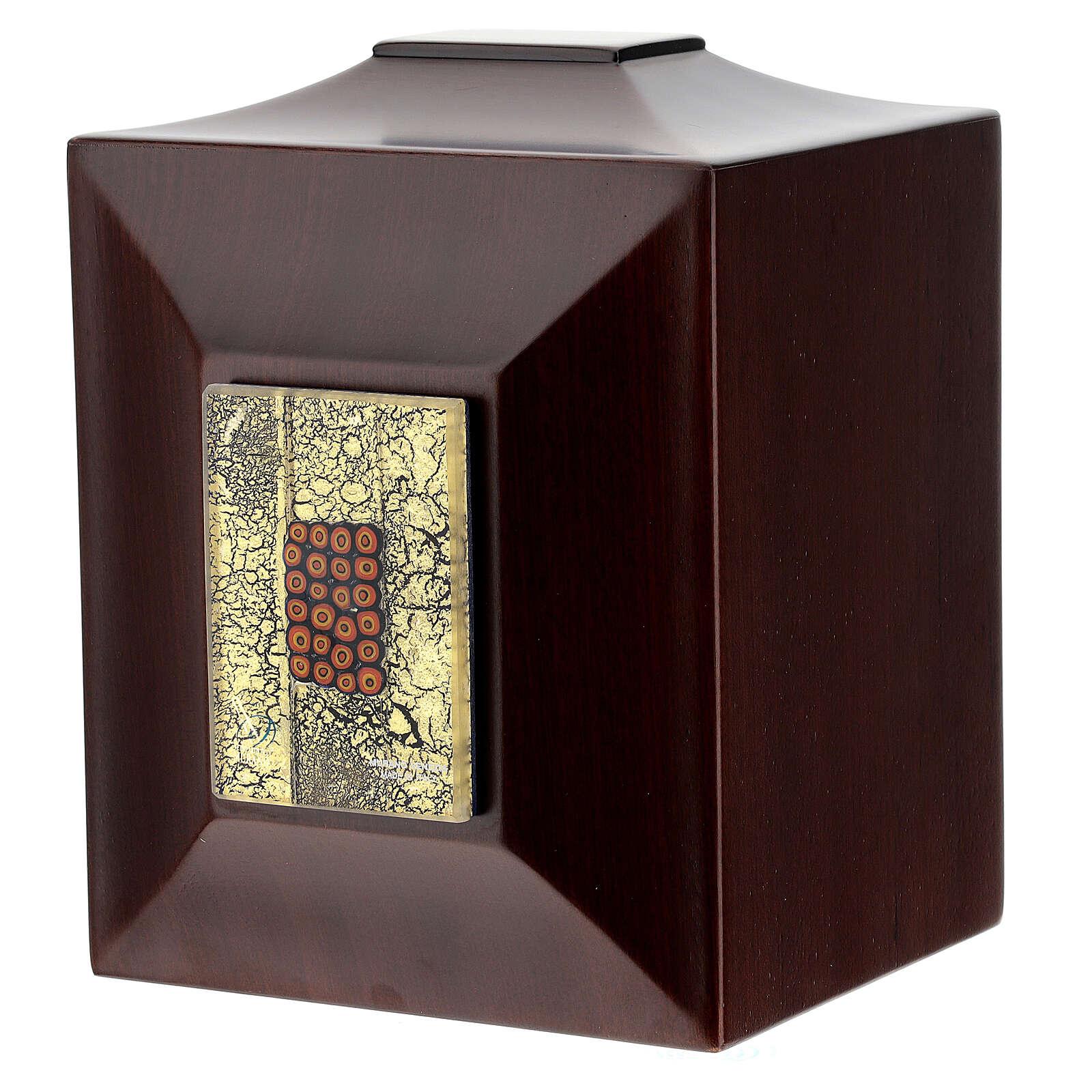 Urna cineraria Venecia caoba con vidrio de Murano y hoja oro 3