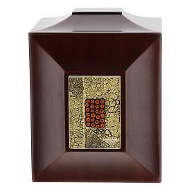 Urna cineraria Venecia caoba con vidrio de Murano y hoja oro s1