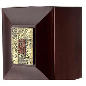 Urna cineraria Venecia caoba con vidrio de Murano y hoja oro s2