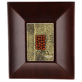 Urna cineraria Venecia caoba con vidrio de Murano y hoja oro s3