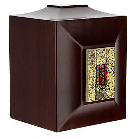 Urna cineraria Venecia caoba con vidrio de Murano y hoja oro s5