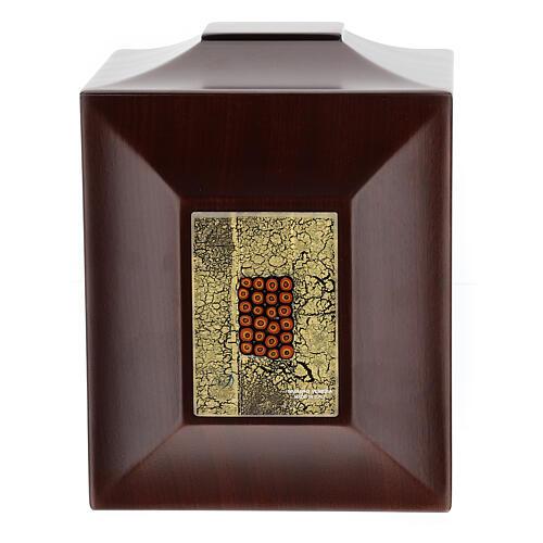 Urna cineraria Venecia caoba con vidrio de Murano y hoja oro 1