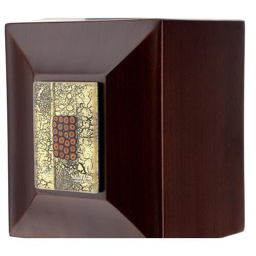 Urna cineraria Venecia caoba con vidrio de Murano y hoja oro 2