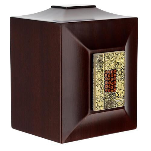 Urna cineraria Venecia caoba con vidrio de Murano y hoja oro 5