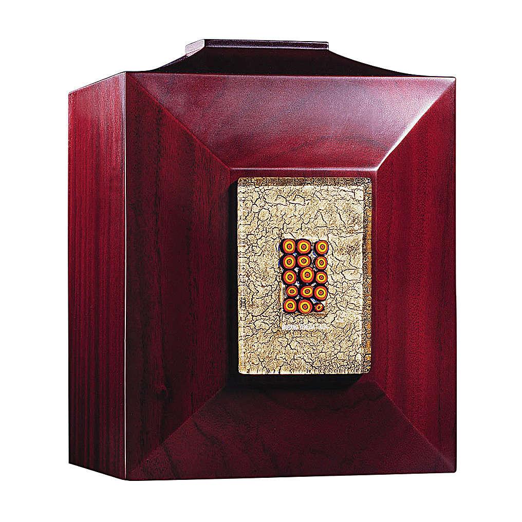 Urna funerária Veneza mogno com vidro de Murano e folha de ouro 3