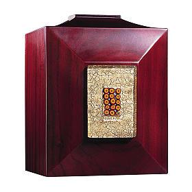 Urna funerária Veneza mogno com vidro de Murano e folha de ouro s1